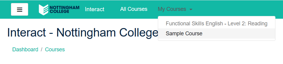 My Courses Dropdown